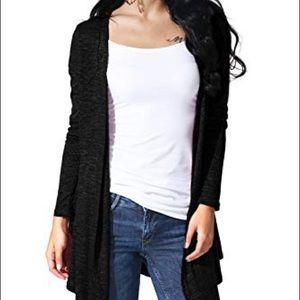 Sweaters - Soft Black Flowy Cardigan